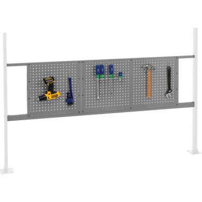 """Panel Kit for 72""""W Workbench with 18""""W and 36""""W Pegboards, Mounting Rail - Gray"""