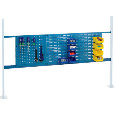 "Global Industrial™ Panel Kit for 72""W Workbench - 18""W Pegboard & 36""W Louver, Mounting Rail BL"