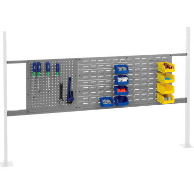 """Panel Kit for 72""""W Workbench with 18""""W Pegboard and 36""""W Louver, Mounting Rail - Gray"""