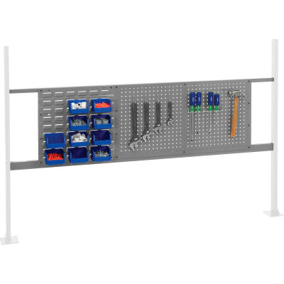 """Panel Kit for 72""""W Workbench with 18""""W Louver and 36""""W Pegboard, Mounting Rail - Gray"""