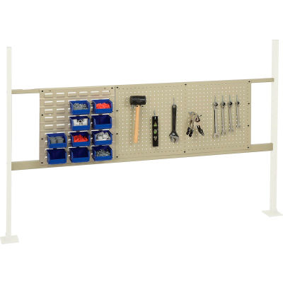 """Global Industrial™ Panel Kit for 72""""W Workbench - 18""""W Louver & 36""""W Pegboard, Mounting Rail TN"""