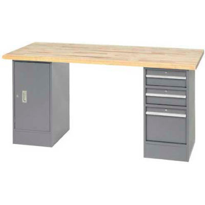 """96""""W x 30""""D Pedestal Workbench W/ 2 Drawers and Cabinet, Maple Butcher Block Square Edge - Gray"""