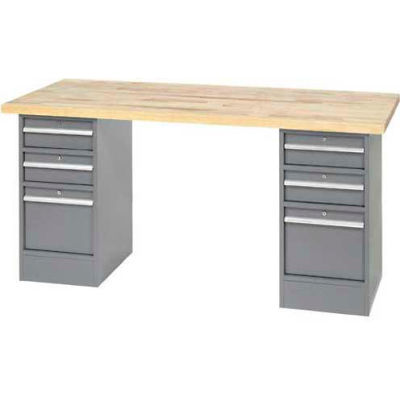 Global Industrial™ 96 x 30 Pedestal Workbench - 5 Drawers, Maple Block Square Edge - Gray