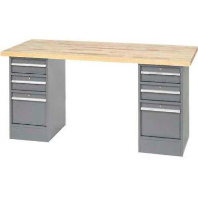 Global Industrial™ 96 x 30 Pedestal Workbench - 4 Drawers, Plastic Laminate Square Edge - Gray
