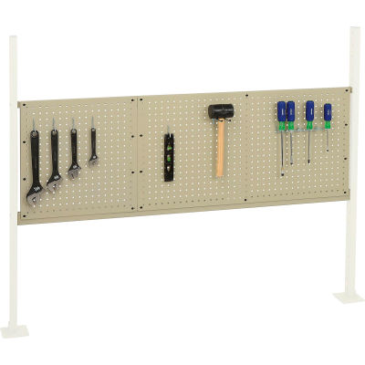 """Global Industrial™ Panel Kit for 60""""W Workbench - 18""""W and 36""""W Pegboards, Mounting Rail -Tan"""