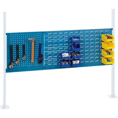 "Global Industrial™ Panel Kit for 60""W Workbench - 18""W Pegboard & 36""W Louver, Mounting Rail BL"