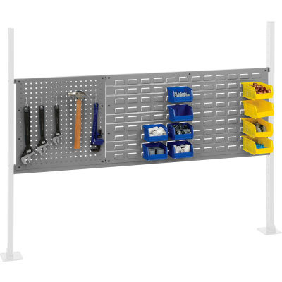 """Panel Kit for 60""""W Workbench with 18""""W Pegboard and 36""""W Louver, Mounting Rail -Gray"""