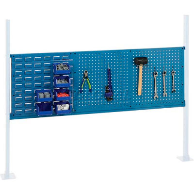 "Global Industrial™ Panel Kit for 60""W Workbench - 18""W Louver & 36""W Pegboard, Mounting Rail BL"