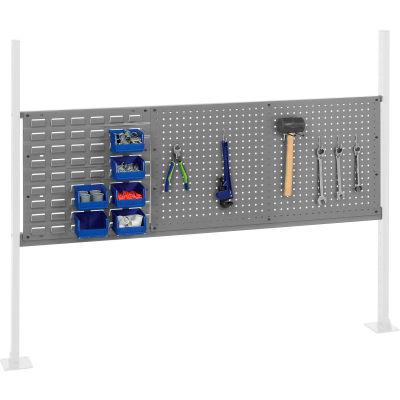 """Panel Kit for 60""""W Workbench with 18""""W Louver and 36""""W Pegboard, Mounting Rail -Gray"""