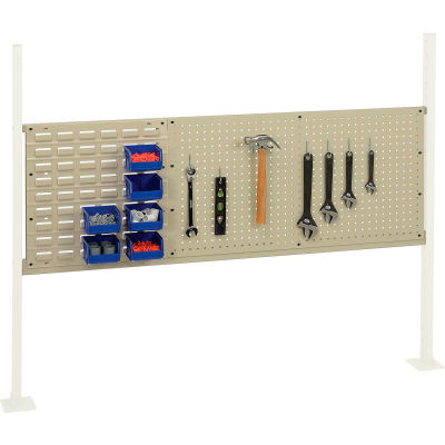 """Global Industrial™ Panel Kit for 60""""W Workbench - 18""""W Louver & 36""""W Pegboard, Mounting Rail TN"""