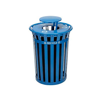 Global Industrial™ Outdoor Steel Recycling Receptacle with Rain Bonnet Lid - 36 Gallon Blue