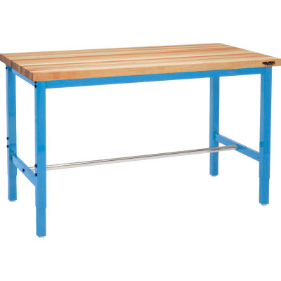 Global Industrial™ 60 x 36 Adjustable Height Workbench Square Tube Leg - Birch Square Edge Blue