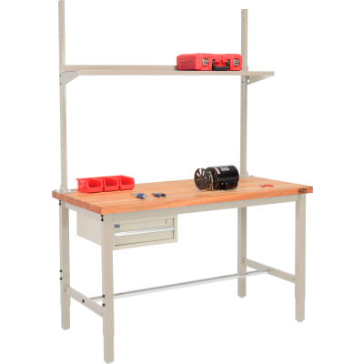 Global Industrial™ 96x36 Production Workbench Maple Square Edge - Drawer, Upright & Shelf TN