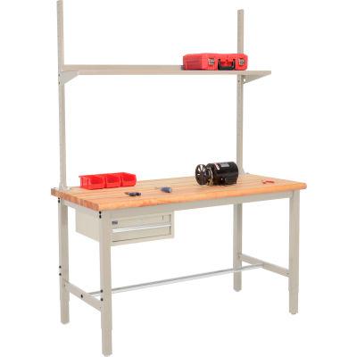 Global Industrial™ 60x36 Production Workbench Maple Safety Edge - Drawer, Upright & Shelf TN