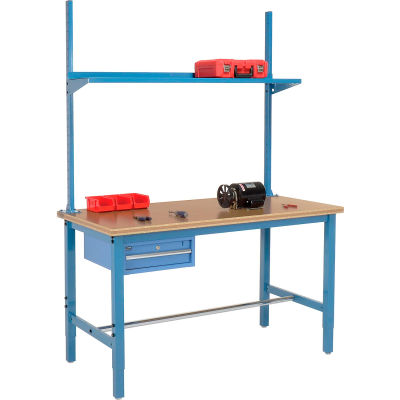 Global Industrial™ 96x30 Production Workbench Shop Top Square Edge - Drawer, Upright & Shelf BL
