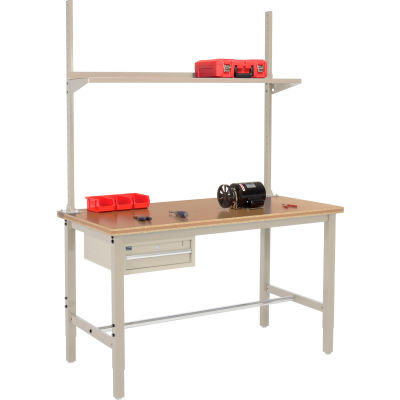 Global Industrial™ 60x36 Production Workbench Shop Top Square Edge, Drawer, Upright & Shelf TN