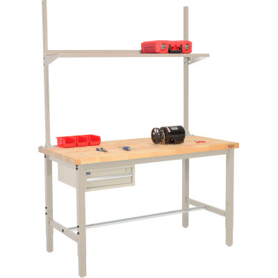 Global Industrial™ 96x30 Production Workbench Birch Square Edge - Drawer, Upright & Shelf TN