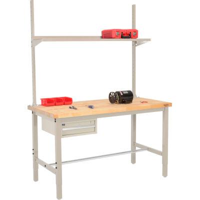 Global Industrial™ 60x30 Production Workbench Birch Square Edge - Drawer, Upright & Shelf TN