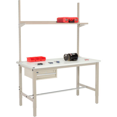 Global Industrial™ 72x36 Production Workbench ESD Square Edge - Drawer, Upright & Shelf TN