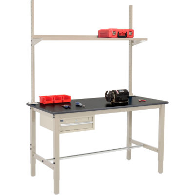Global Industrial™ 60x36 Production Workbench Phenolic Safety Edge, Drawer, Upright & Shelf TN