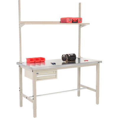 Global Industrial™ 72x30 Production Workbench Stainless Steel - Drawer, Upright & Shelf TN