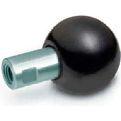 J.W. Winco GN319.2 Phenolic Revolving Ball Knob W/Long Shoulder Tapped 50mm Dia. 78mm L M12x1.75