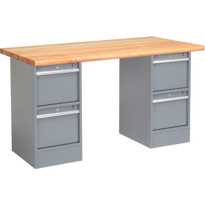 Global Industrial™ 60 x 30 Pedestal Workbench - 4 Drawers, Maple Safety Edge - Gray