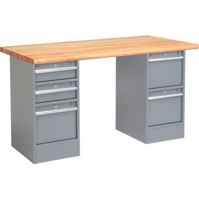Global Industrial™ 72 x 30 Pedestal Workbench - 5 Drawers, Maple Block Safety Edge - Gray