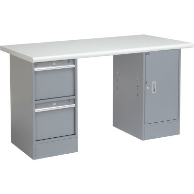 Global Industrial™ 60 x 30 Pedestal Workbench 2 Drawers and Cabinet, Laminate Safety Edge Gray