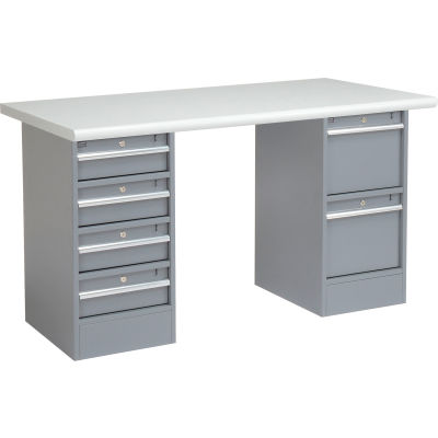 Global Industrial™ 60 x 30 Pedestal Workbench - 6 Drawers, Plastic Laminate Safety Edge - Gray