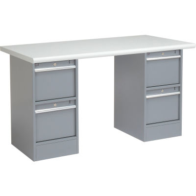 Global Industrial™ 72 x 30 Pedestal Workbench - 4 Drawers, Plastic Laminate Safety Edge - Gray