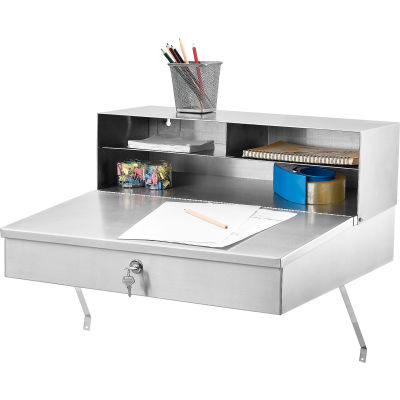 """Global Industrial™ Wall Mount Shop Desk 24""""W x 22""""D x 12""""H - Stainless Steel"""