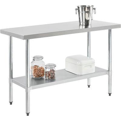 "Global Industrial™ Workbench W/Shelf, 18 Ga. 430 Series Stainless, Galv. Frame, 72""Wx30""D"