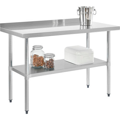 "Global Industrial™ Workbench W/Shelf, 18 Ga. 430 Stainless, 2"" Splash, Galv. Frame, 72""Wx30""D"