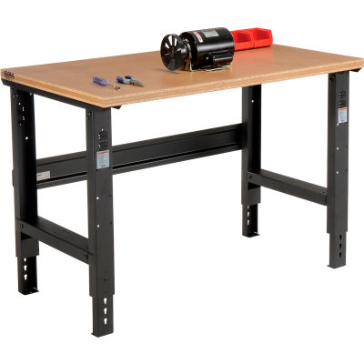 "Global Industrial™ C-Channel Leg Adjustable Height Workbench, Shop Top Square Edge, 48"" x 30"""