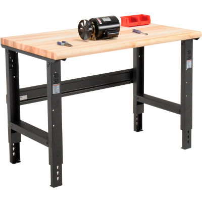 Global Industrial™ 48x30 Adjustable Height Workbench C-Channel Leg - Maple Safety Edge - Black