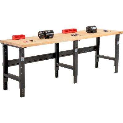 Global Industrial™ 96x36 Adjustable Height Workbench C-Channel Leg - Birch Square Edge - Black