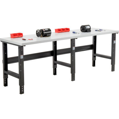 Global Industrial™ 96x36 Adjustable Height Workbench C-Channel Leg - Laminate Square Edge Black