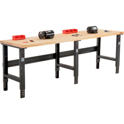 Global Industrial™ 96x30 Adjustable Height Workbench C-Channel Leg - Maple Square Edge - Black