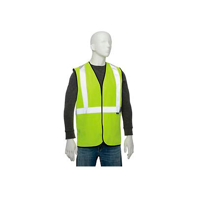 """Global Industrial Class 2 Hi-Vis Safety Vest, 2"""" Reflective Strips, Polyester Solid, Lime, Size L/XL"""
