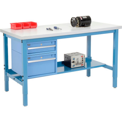 Global Industrial™ 60 x 36 Production Workbench - Laminate Square Edge - Drawers & Shelf - Blue