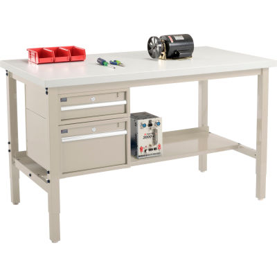 Global Industrial™ 60 x 36 Production Workbench - Laminate Square Edge - Drawers & Shelf - Tan