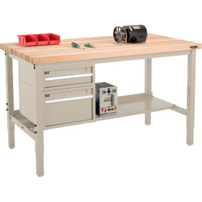 """Global Industrial™ 60""""W x 36""""D Production Workbench - Maple Square Edge - Drawers & Shelf - Tan"""