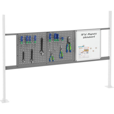 "Panel Kit for 72""W Workbench with 18""W Whiteboard and 36""W Pegboard, Mounting Rail - Gray"