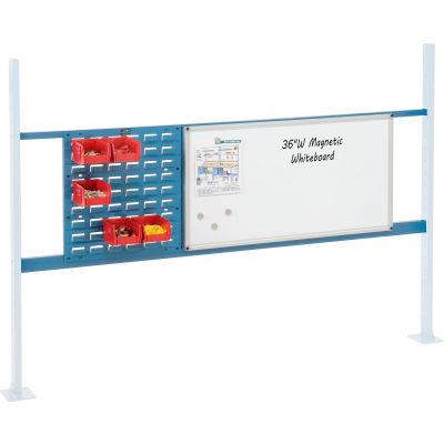 "Global Industrial™ Panel Kit for 72""W Workbench 18""W Louver & 36""W Whiteboard, Mounting Rail BL"
