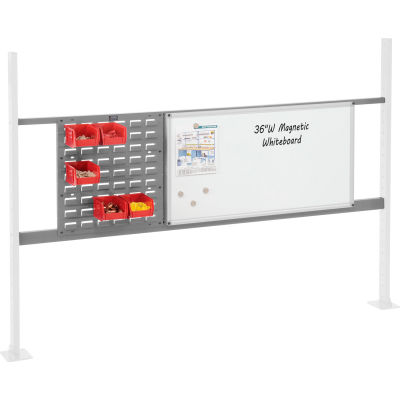 """Panel Kit for 72""""W Workbench with 18""""W Louver and 36""""W Whiteboard, Mounting Rail - Gray"""