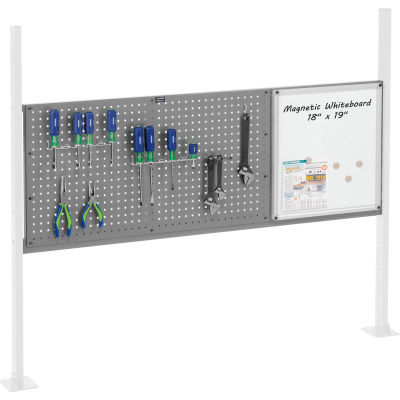 """Panel Kit for 60""""W Workbench with 18""""W Whiteboard and 36""""W Pegboard, Mounting Rail - Gray"""