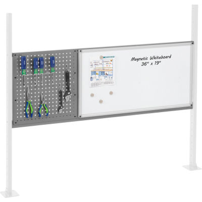 """Panel Kit for 60""""W Workbench with 18""""W Pegboard and 36""""W Whiteboard, Mounting Rail - Gray"""
