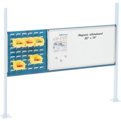 "Global Industrial™ Panel Kit for 60""W Workbench 18""W Louver & 36""W Whiteboard, Mounting Rail BL"