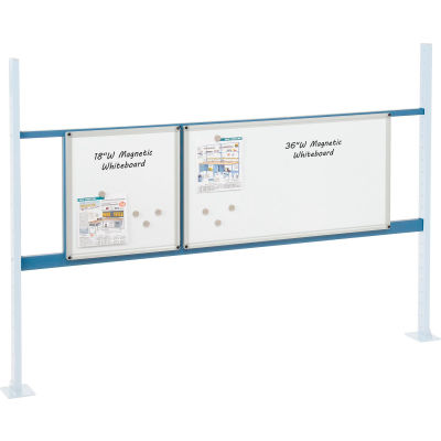 """Global Industrial™ Panel Kit for 72""""W Workbench - 18""""W and 36""""W Whiteboard, Mounting Rail Blue"""